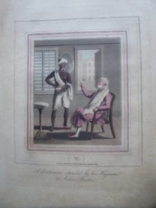 A Gentleman attended by his Hajaum or Native Barber