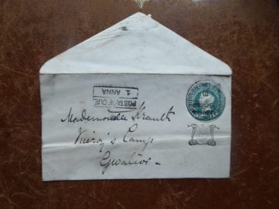 An envelope posted to the Viceroy's camp at Gwalior in the 1890s