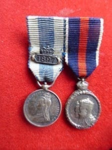 A pair of named miniature medals to a Colonel serving in the Corps of Gentlemen at Arms