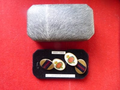 Grenadier Guards, a cased pair of cuff links