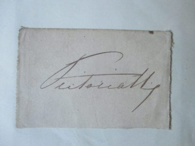 Queen Victoria. A bold example of her signature dating from before 1877.