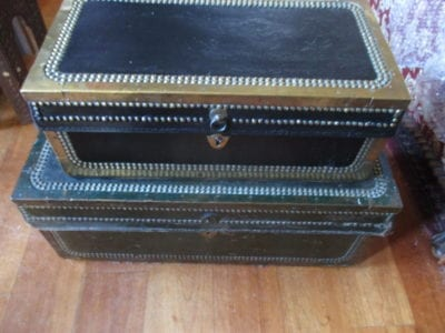An East India style brass bound trunk of small size
