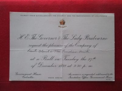 An invitation to meet the Viceroy Lord Linlithgow, 1938