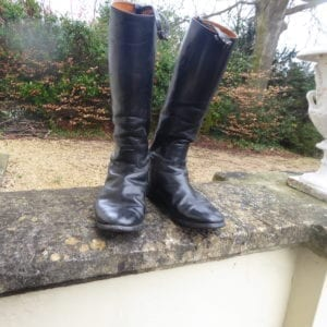 Black leather riding boots, size 12, made in 1977