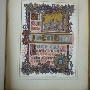 Royal Commission for the Colonial and Indian Exhibition. Illuminated presentation manuscript from Leamington Spa to Sir Peter Lumsden