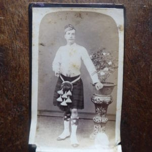 A Highlander in tropical dress with kilt, photographed in Hong Kong