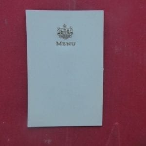 PATIALA, Punjab. An unused menu card gold embossed with the arms of the state