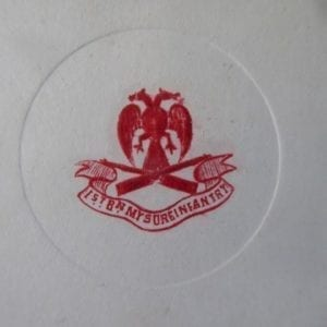1st Bn Mysore Infantry. An embossed regimental Christmas card from the 1930s.