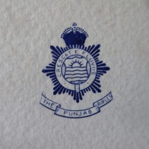The Punjab Rifles, a regimentally embossed card of the 1930s
