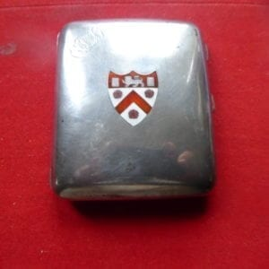 Trinity College Cambridge. A handsome silver cigarette case enamelled with the college arms