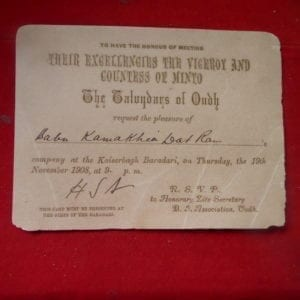 Invitation to meet the Viceroy & Countess of Minto, 1908