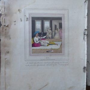 An European Lady giving instructions to her Durzee or Native Tailor. A hand coloured engraving of 1813