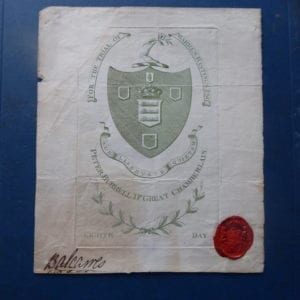 Warren Hastings: Trial Ticket signed by the Earl of Crawford and Balcarres 1788.