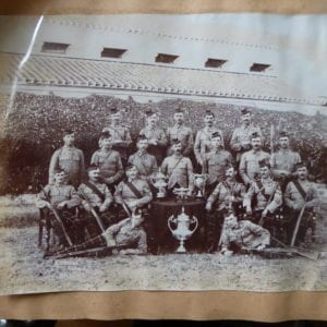 Seaforth Highlanders, Agra 1913. A shooting team with trophies.