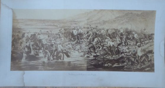 Indian Mutiny. 7th Lancers in action on the Raptee [Rapti] River, December1858