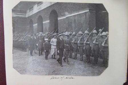 H.R.H. the Prince of Wales reviewing troops, circa 1912.