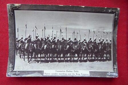 Delhi Durbar 1911. A postcard of Indian cavalry