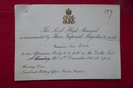 Delhi Durbar 1911. A Royal invitation to the Garden Party