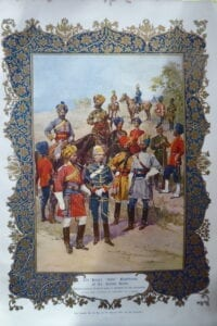 The King's Own Regiments of the Indian Army. A very decorative coloured print