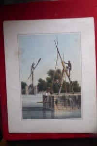 Pickottah or water raising device in South India, lithograph of 1827