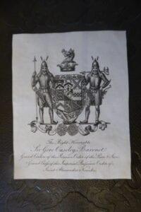 Armorial bookplate of Sir Gore Ouseley, Baronet.