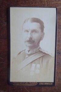 A captain wearing Crimean War medals.